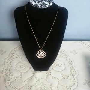 kate spade gold pave rose necklace